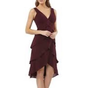 JS Collections Burgundy Layered Crepe Dress Size10